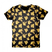 Pokemon Pikachu All-Over Print X-Large T-Shirt - Black/Yellow