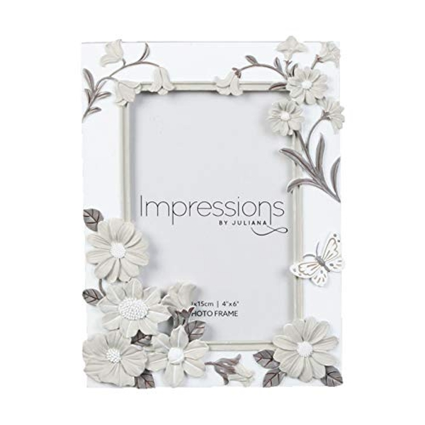 "4"" x 6"" - Impressions White Floral Resin Frame"