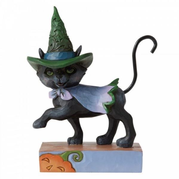 Walking Black Cat with Witch's Hat Mini Figurine