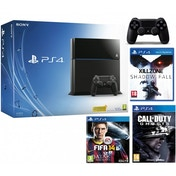 PlayStation 4 (500GB) Black Console + FIFA 14 + COD Ghosts + Killzone + Extra Controller