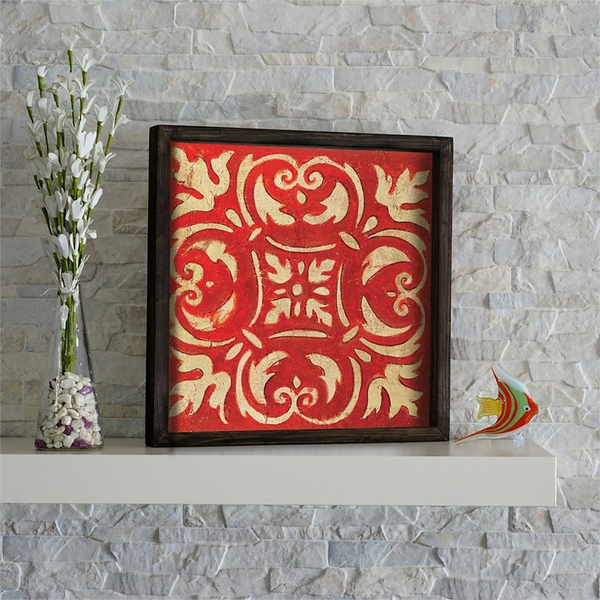 KZM619 Brown Red Yellow Decorative Framed MDF Painting