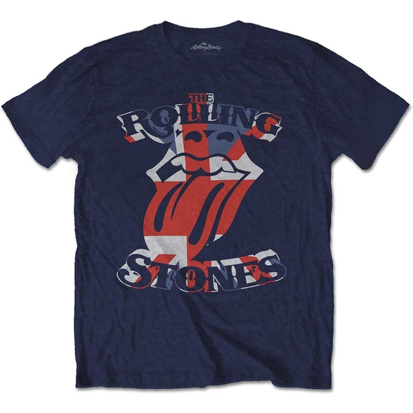 The Rolling Stones - British Flag Tongue Unisex Small T-Shirt - Blue