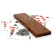 Toyrific Wooden Cribbage Board & Playing Cards Traditional Card Game Set