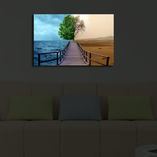 4570?ACT-47 Multicolor Decorative Led Lighted Canvas Painting
