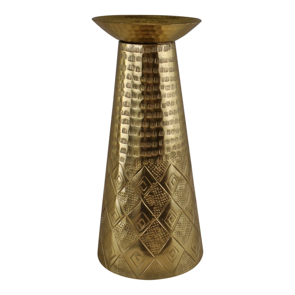 Large Gold Metal Moroccan Style Kasbah Candle Holder