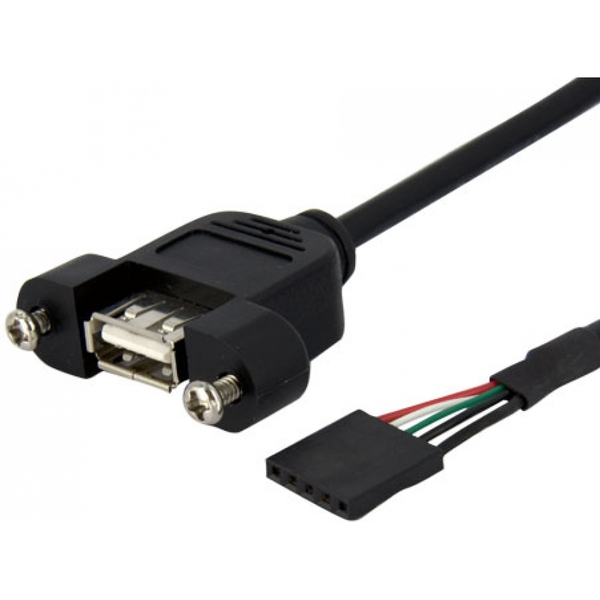 StarTech 0.3m Panel Mount USB Cable USB A to Motherboard Header Cable F/F