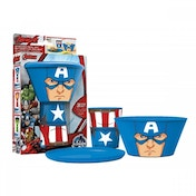 (Damaged Packaging) Captain America (Avengers) Stacking Meal Set Used - Like New