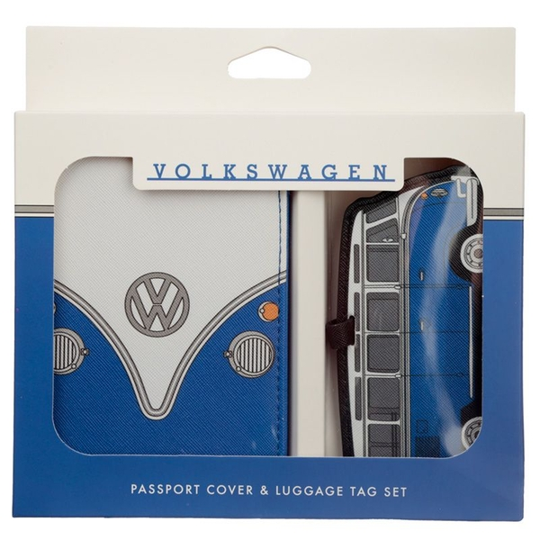 Volkswagen VW T1 Camper Bus Blue Passport Holder and Luggage Tag Set