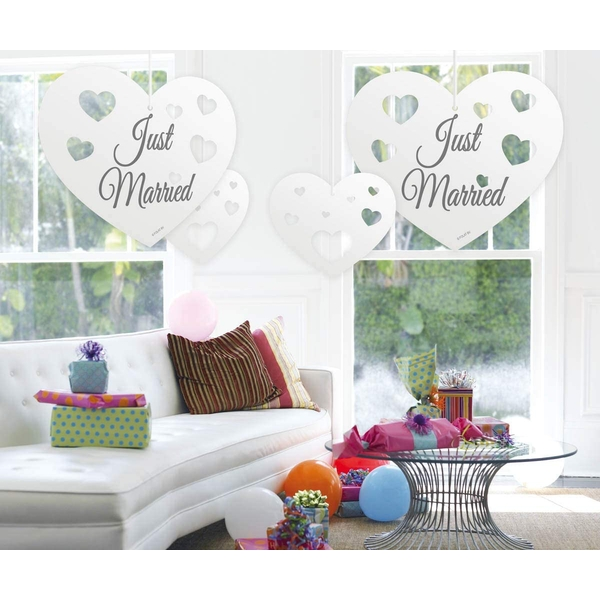 Just Married Hanging Heart Decoration