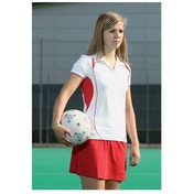 PT Ladies Polo Shirt Small White/Red
