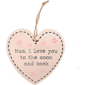 Mum, I Love You Shabby Hanging Heart Sign