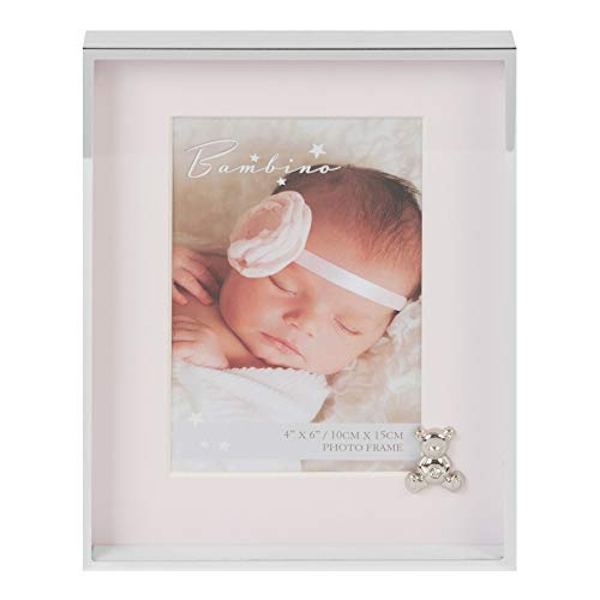 "4"" x 6"" - Bambino Silver Finish Frame - Teddy & Pink Mount"