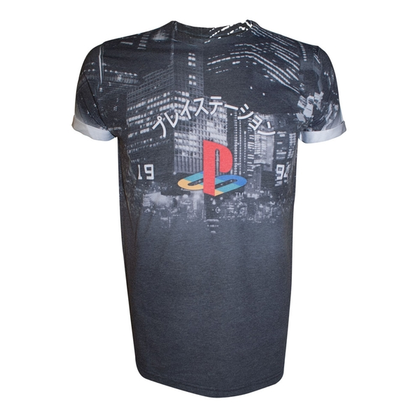 Sony - Playstation Logo With Japanese Text Men's Polyester/Cotton T-Shirt - Dark Grey