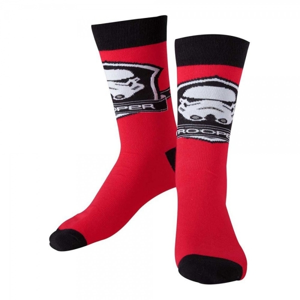 Star Wars The Force Awakens Adult Male Stormtrooper Logo Crew Socks 39/42 (Red)