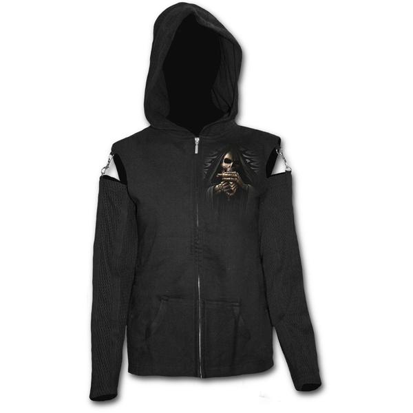 Bone Finger Mesh Sleeve Full Zip Women's Small Hoodie - Black