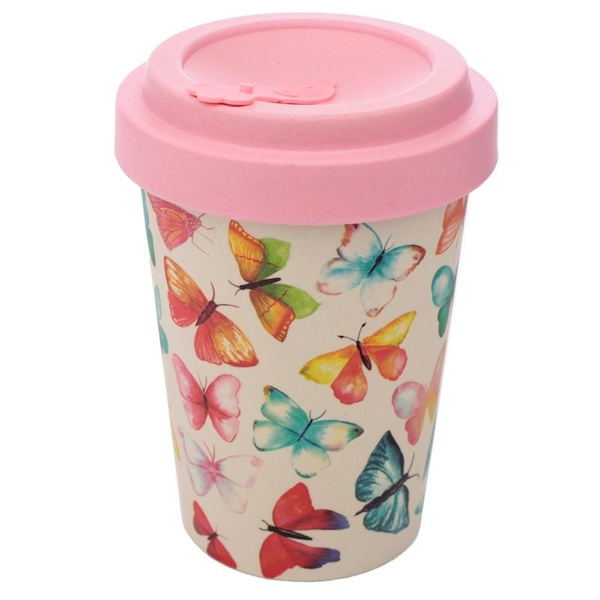 Butterfly Reusable Screw Top Bamboo Composite Travel Mug