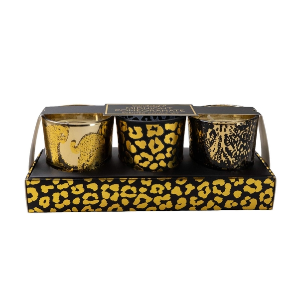 Candlelight Animal Luxe (Set of 3) Wax Filled Candle Pots with Leopard Print Midnight Pomegranate Scent
