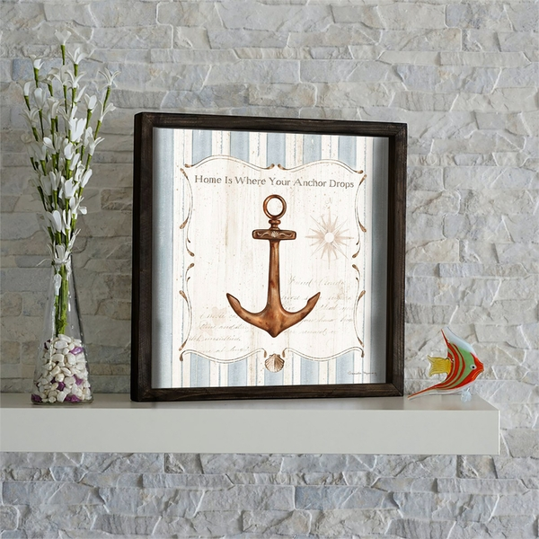 KZM575 Brown Blue White Decorative Framed MDF Painting
