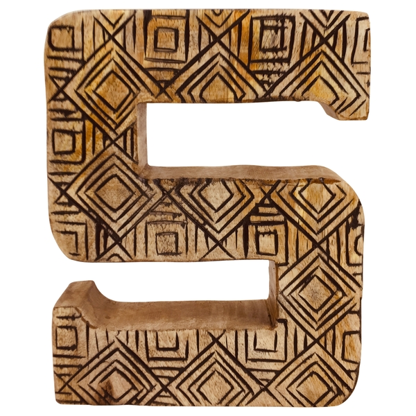 Letter S Hand Carved Wooden Geometric