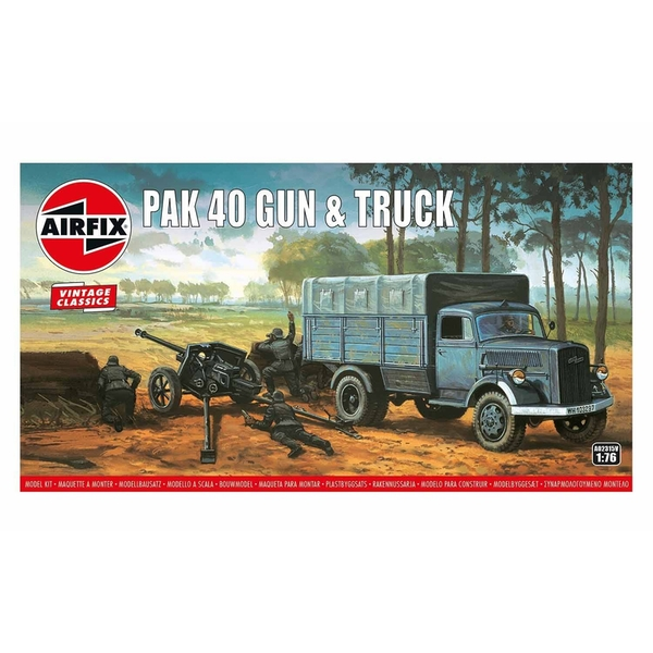 Pak 40 Gun & Track 1:76 Vintage Classic Military Air Fix Model Kit