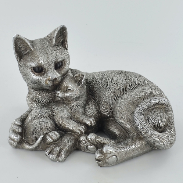 Antique Silver Cat & Kitten Entwined Ornament