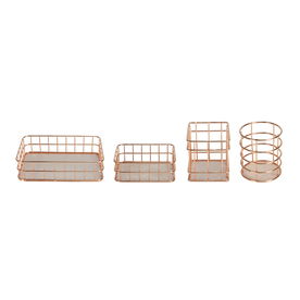 Set of 4 Rose Gold Baskets| M&W New