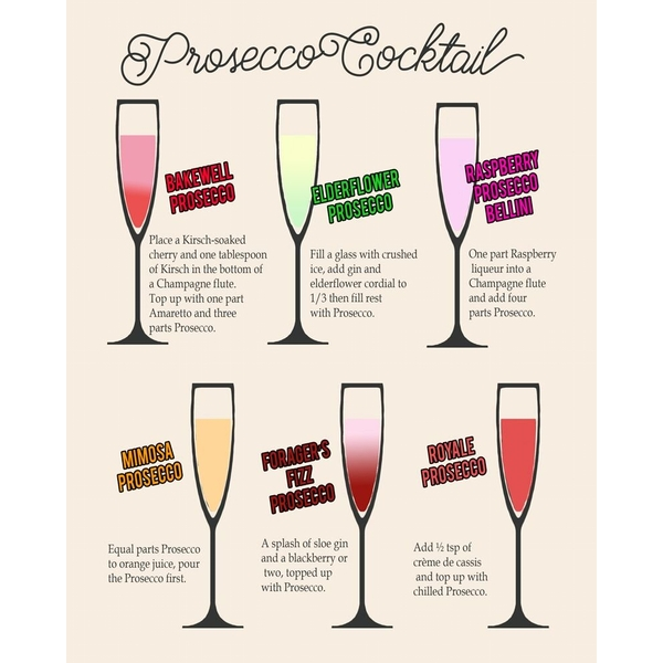 Vintage Metal Sign Classic Cocktail Prosecco Recipes