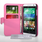 YouSave HTC Desire 610 Leather Effect Wallet Case - Hot Pink
