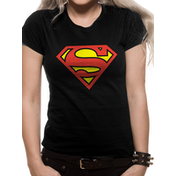 Superman - Logo Women's Large Fitted T-Shirt - Black