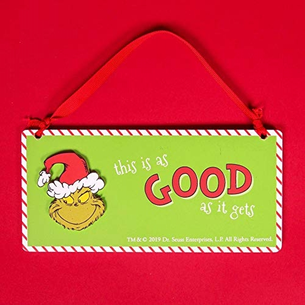 Grinch Naughty & Good Double Sided Hanging Plaque