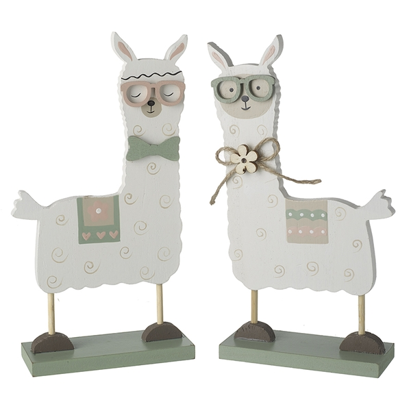 Spring Wooden Llamma With Glasses By Heaven Sends (One Random Supplied)