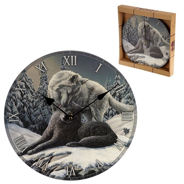 Snow Kisses Wolf Wall Clock