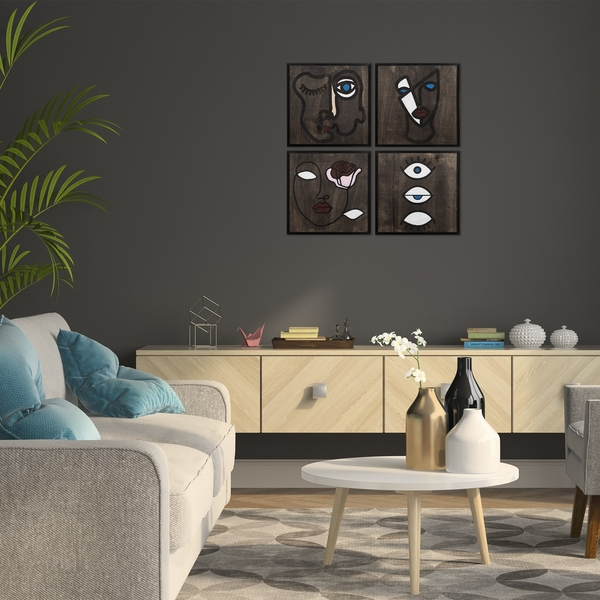 Ineffable Black White Decorative Wooden Wall Accessory