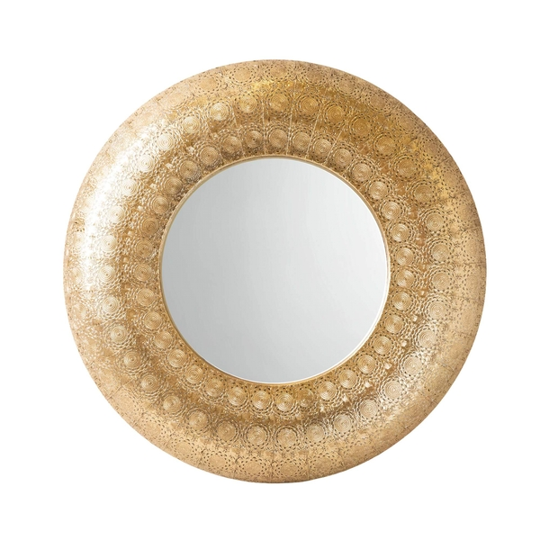 Moroccan Cut Out Gold Filigree Round Mirror 72cm