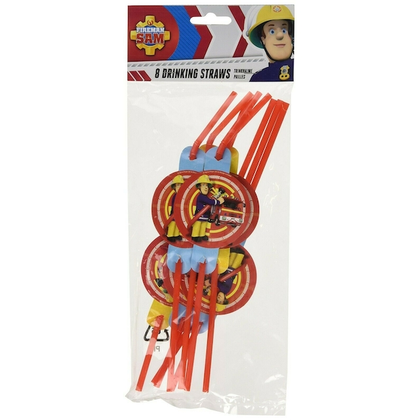 Fireman Sam Drinking Party Straws (Pack Of 8)