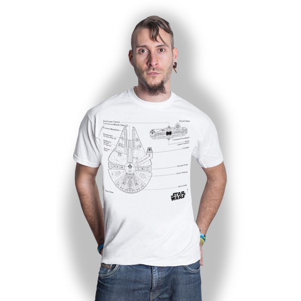 Star Wars - Millennium Falcon Unisex X-Large T-Shirt - White