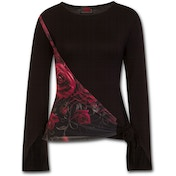 Gothic Elegance Blood Rose Sash Wrap Women's Medium Long Sleeve Top - Black