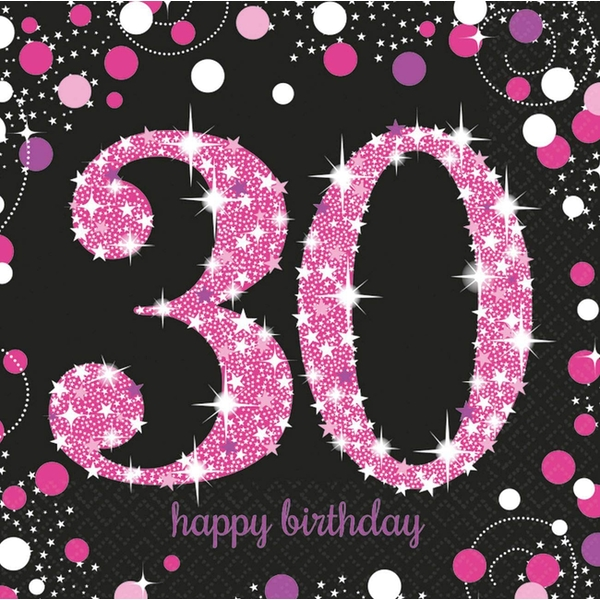 30th Birthday Glitter Napkins (Pack Of 16)