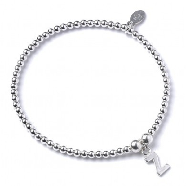 Initial Z Charm with Sterling Silver Ball Bead Bracelet