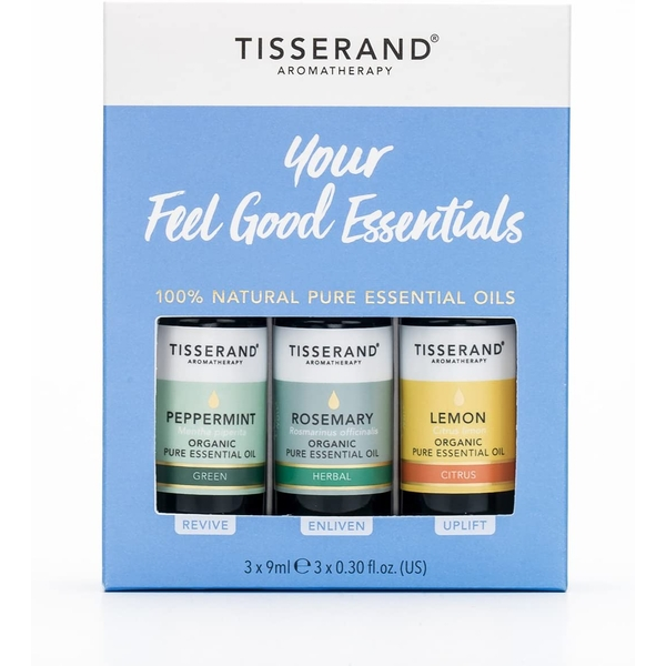 Tisserand Aromatherapy Your Feel Good Essentials Oil Kit Peppermint, Rosemary & Lemon (3x9ml)