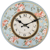Shabby Chic Pink Roses with Blue Background Wall Clock