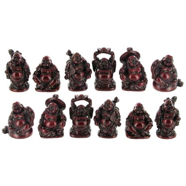 Red Resin Buddhas H5cm | Set of 12
