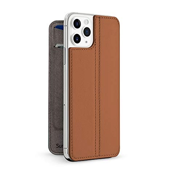 Twelve South SurfacePad for iPhone 11 Pro Max | Ultra-slim luxury napa leather cover + display stand with sleep/wake (cognac)