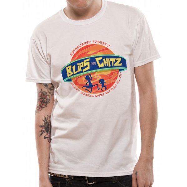 Rick And Morty - Blips And Chitz Men's XX-Large T-Shirt - White