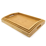 3 Bamboo Wooden Serving Trays | M&W