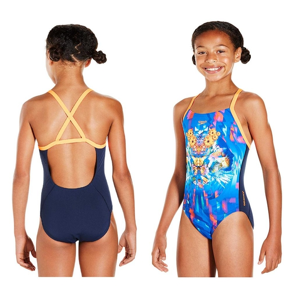 Speedo Dreamscape Fusion Placement Crossback Swimsuit Junior Navy/Orange 30""