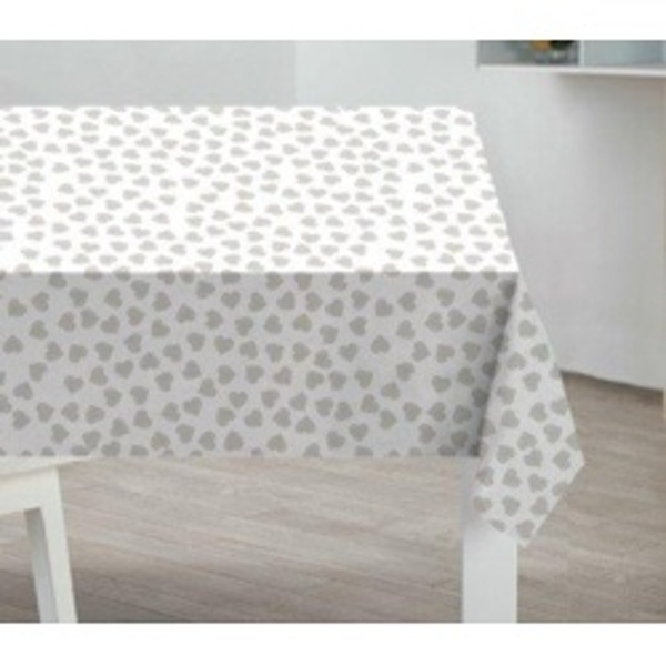 Sabichi PVC Tablecloth Grey Hearts