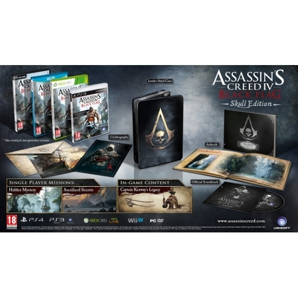 Ex-Display Assassin's Creed IV 4 Black Flag Skull Edition Game Xbox One Used - Like New