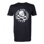 Uncharted 4 Skull 'n' Crossbones Pro Deus Qvod Licentia 1710 Large T-Shirt - Black