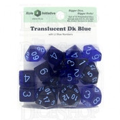 Translucent Dark Blue/Light Blue Poly 15 Set Dice